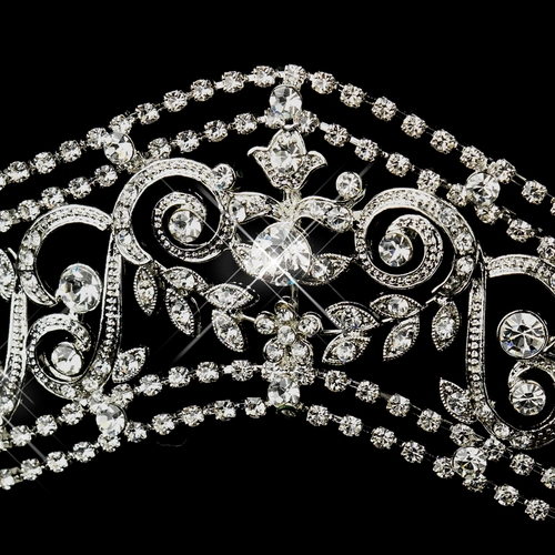 Antique Silver Princess Rhinestone Bridal Tiara Headpiece 665