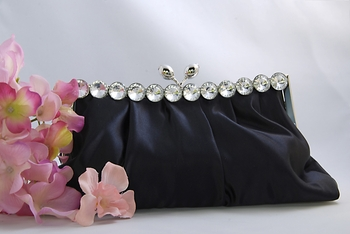 Chic Black Satin Clear Rhinestone Evening Bag 302