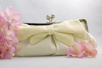 Ivory Matte Satin Bridal Evening Bag EB 301