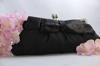 Black Matte Satin Beaded Bow Bridal Evening Bag EB 301