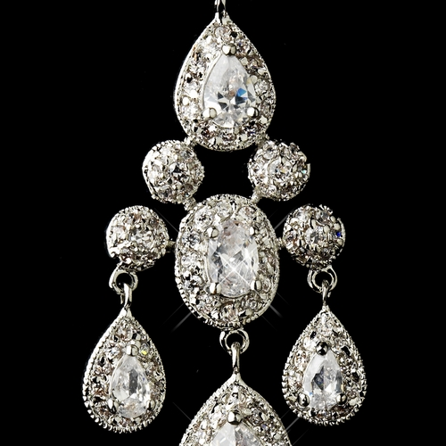 Antique Silver Clear CZ Crystal Bridal Chandelier Bridal Earrings 8677