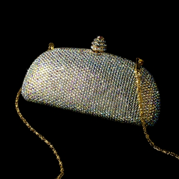 Bridal Evening Bag w/ Swarovski Crystals EB 0127 AB Rounded Edge