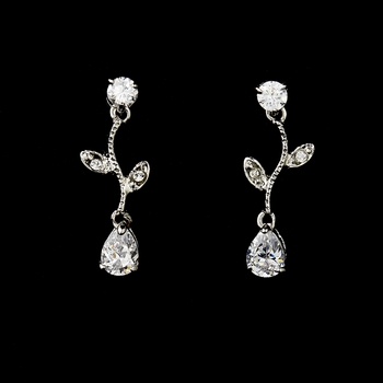 Silver Cubic Zirconia Drop and Vine Earrings E 2657