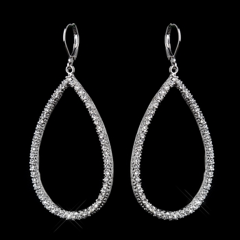 Silver Clear CZ Crystal Dangle Bridal Earrings 8716