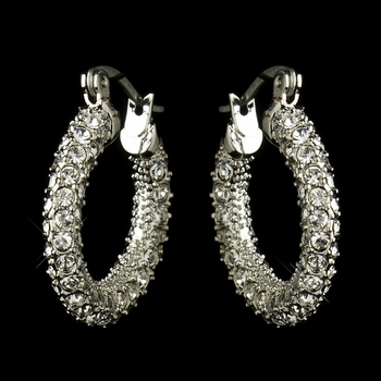 Antique Silver Clear CZ Crystal Hoop Bridal Earrings 8692