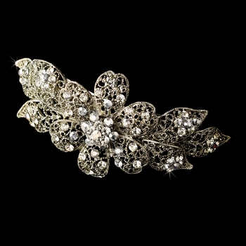 Rhodium Silver Clear Crystal Flower Hair Barrette 5070