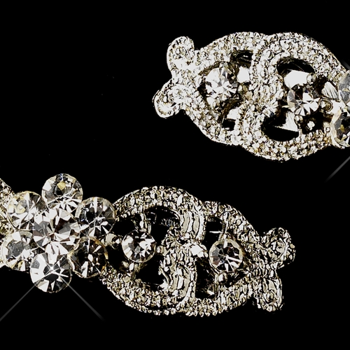 Vintage Rhodium Silver Rhinestone Flower Barrette 0050 (Set of 12)