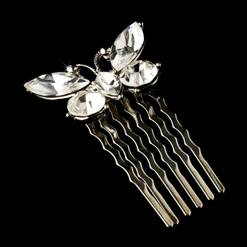 Fabulous Clear Rhinestone Butterfly Hair Comb 6720 Silver