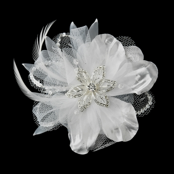 * White Crystal Rhinestone Matte Satin & Organza Bridal Flower Hair Clip 8106 with Brooch Pin