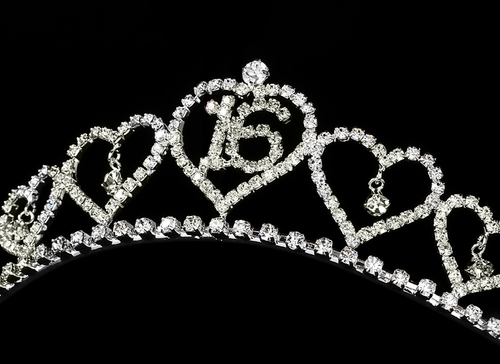Sweet 16 Silver Plated Tiara Covered in Sparkling Rhinestones 460 Silver Pink