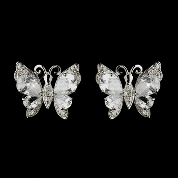 Antique Silver Clear CZ Crystal Butterfly Stud Bridal Earrings 9256