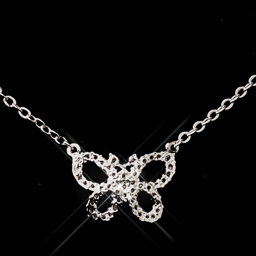 Butterfly CZ Necklace & Earring Set 8723