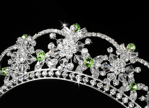 Sparkling Rhinestone & Swarovski Crystal Covered Tiara with Green Accents in Silver 523