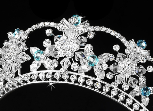 Sparkling Rhinestone & Swarovski Crystal Covered Tiara with Aqua Accents in Silver 523