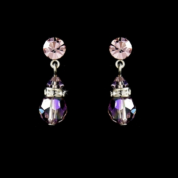 Pink Swarovski Crystal Bridal Earrings E 200