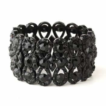 Jet Black Wide Bowtie Stretch Bracelet 8699 **Discontinued**