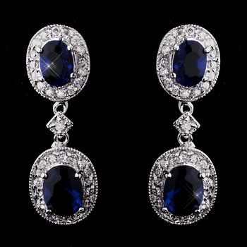 Silver Sapphire Kate Middleton Inspired Silver Sapphire Blue CZ Earrings 5996
