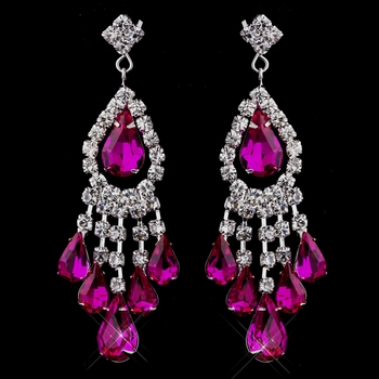 Silver Fuchsia Chandelier Earrings 24792