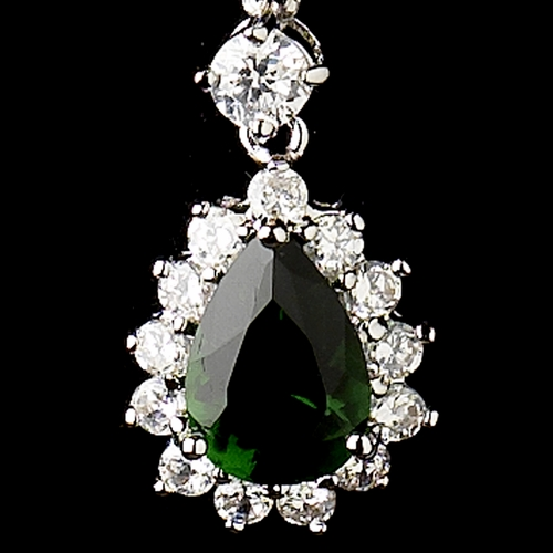 Silver Emerald Green CZ Crystal Kate Middleton Inspired Earrings  5560
