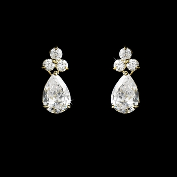 Stunning Gold Clear Cubic Zirconia Crystal Drop Earrings 2404