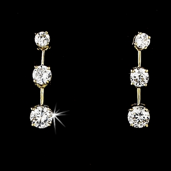 OUR FUTURE Gold Cubic Zirconia Earrings E 3516 Gold
