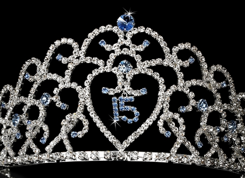 Royal Sweet 15 Quinceañera Silver Headpiece Covered in Clear & Light Blue Rhinestones 251