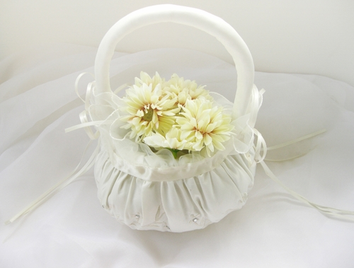 Pretty Bridal Flower Girl Basket with Rhinestone Accent FB 3