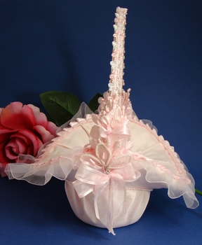 Pink Bridal Flower Girl Basket FB 4 (All Pink, Pink & White, Ivory or White)