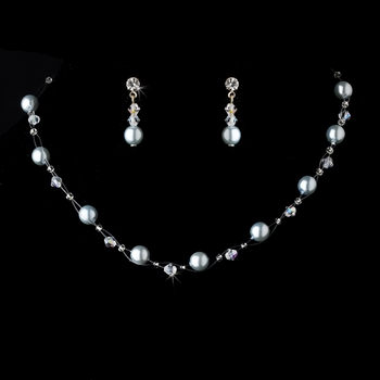 * Necklace Earring Set 207 Light Blue AB