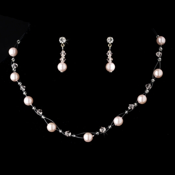 * Necklace Earring Set 207 Bright Pink