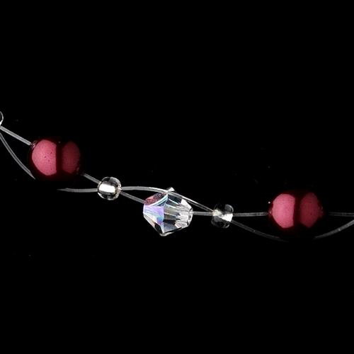 "Silver ""Red Clear"" Pearl & Swarovski Crystal Necklace & Earrings Jewelry Set 207"