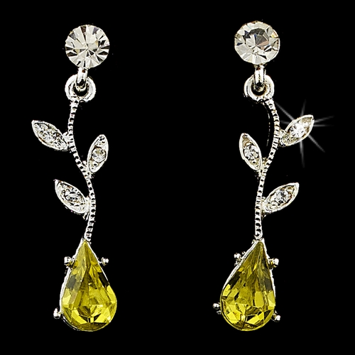 Necklace Earring Set 328 Dangle Silver Clear Yellow