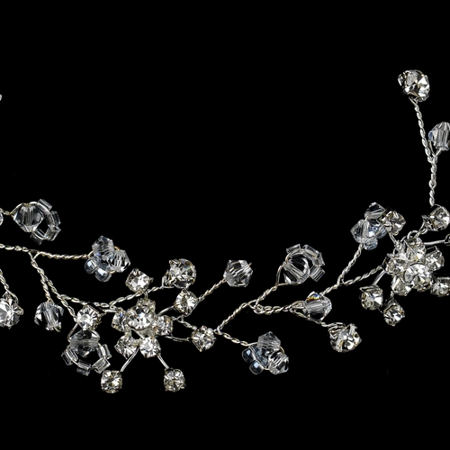 Silver Clear Rhinestone Floral Vine Hair Headpiece 6309