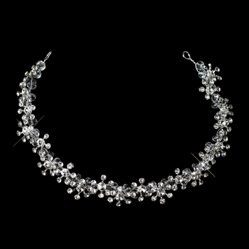 Kim Kardashian Inspired Silver Crystal & Rhinestone Flower Browband Headband Jewelry Headpiece ***Discontinued***