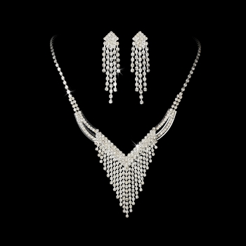 Necklace Earring Set 8281 Silver Clear