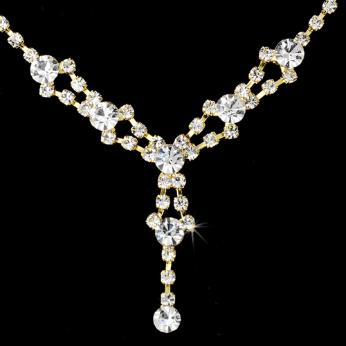 * Necklace Earring Set 7581 Gold Clear