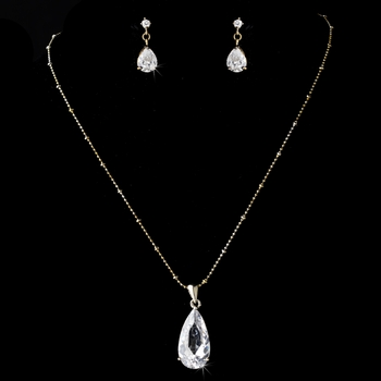 Necklace Earring Set 8420 Gold Clear