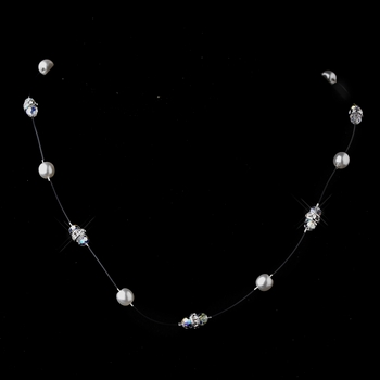 White AB Austrian Crystal Necklace 8370