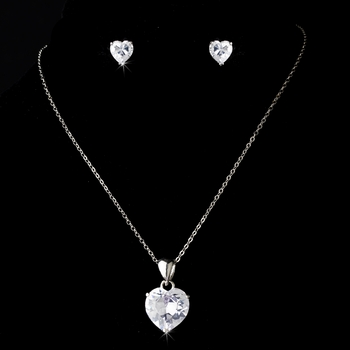 Necklace Earring Set 8421 Silver Clear