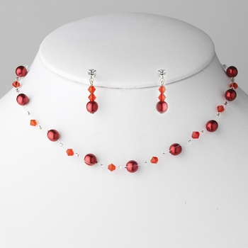 "* ""Red Red"" Pearl Necklace Earrings Jewelry Set 207"