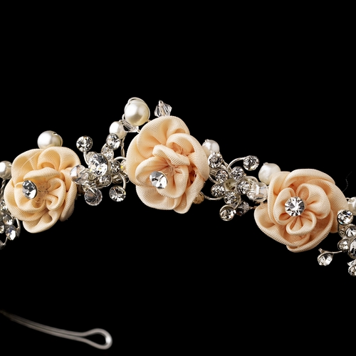 * Rose and Crystal Bridal Headpiece HP 2322 * 1 Left *