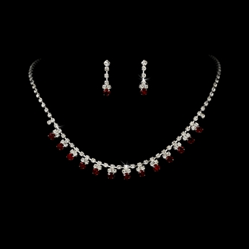 * Red Accented Necklace & Earring Jewelry Set NE 358