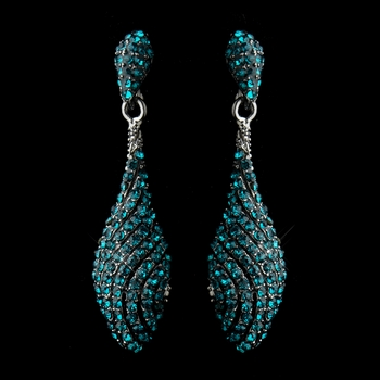 Antique Silver Teal Pave Rhinestone Dangle Bridal Earrings 8659