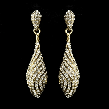 Gold Clear Pave Rhinestone Dangle Bridal Earrings 8659