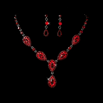 * Stunning Red Pave Crystal Jewelry Set NE 908