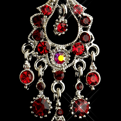 Antique Silver Red AB Crystal Chandelier Bridal Earrings 1028