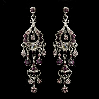 Antique Silver Amethyst AB Crystal Chandelier Bridal Earrings 1028