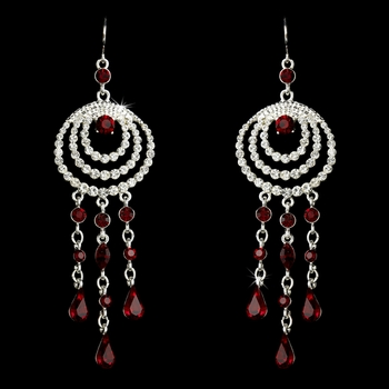 * Immaculate Silver Clear & Red Austrian Crystal Chandelier Earrings 24496  * 1 Left *