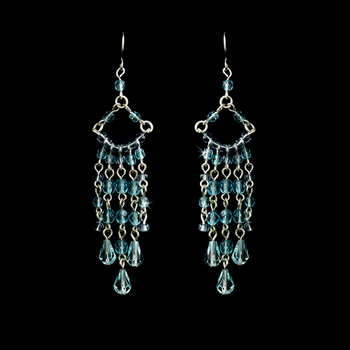 * Aqua Swarovski Crystal Earrings E 240 * 1 Left *