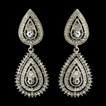Antique Silver Clear Pave Rhinestone Dangle Bridal Earrings 8683